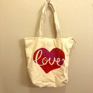 Handbags - NWT Love Canvas Bath&Body Works Tote Bag